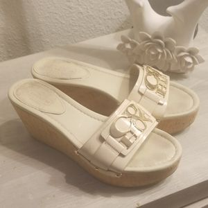 Coach patent leather coach wedges